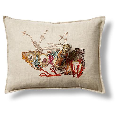 Ocean Floor 12x16 Pocket Pillow, Natural Linen