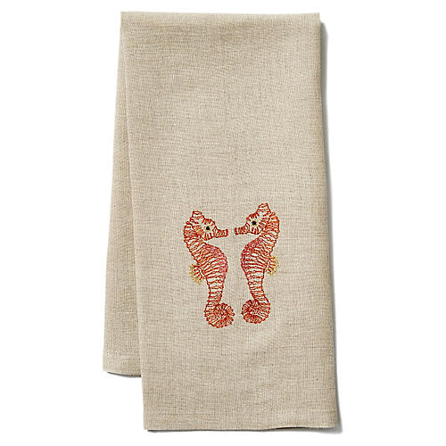 Seahorse Love Linen Tea Towel