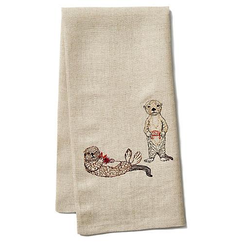 Sea Otter Linen Tea Towel