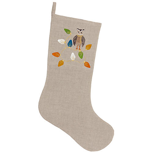 Large Owl Tree Trimmer Stocking, Natural