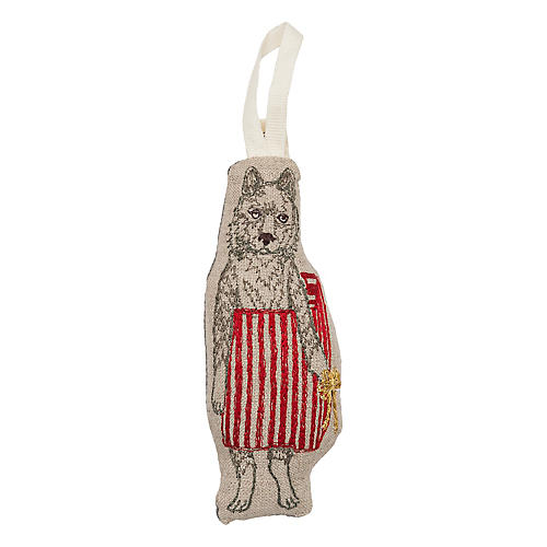 """5"""" Christmas Wolf Ornament, Natural"""