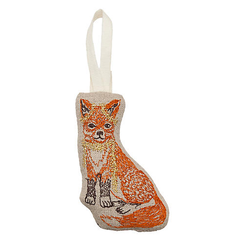 "4"" Fox Trimmer Ornament, Natural"