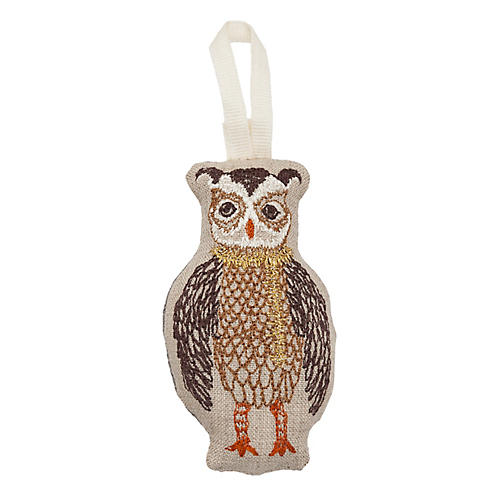 "4"" Owl Trimmer Ornament, Natural"