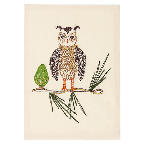 Owl Tree Embroidered Stationery
