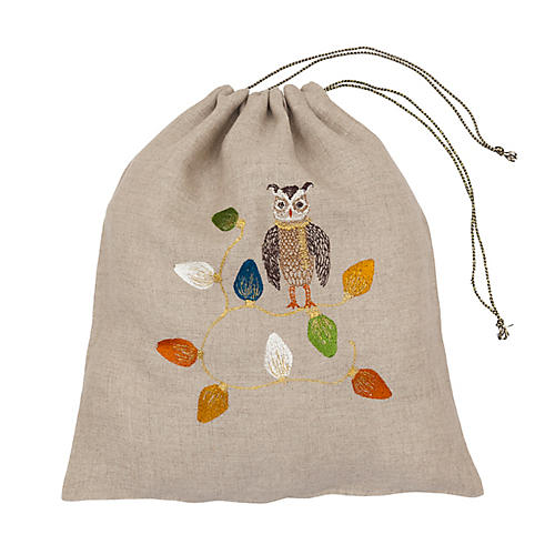 Large Owl Tree Drawstring Bag