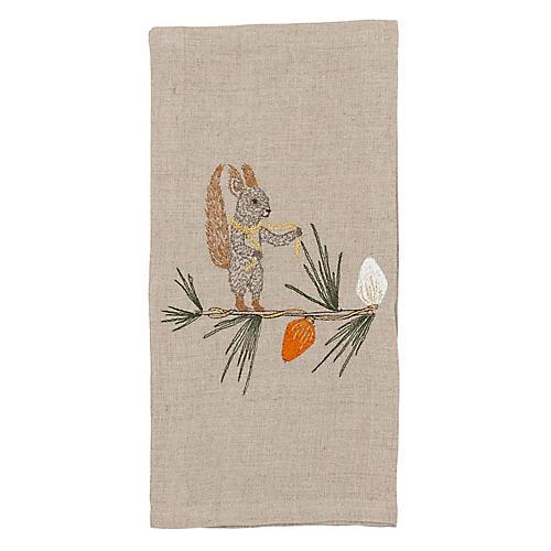 Squirrel Tree Trimmer Tea Towel