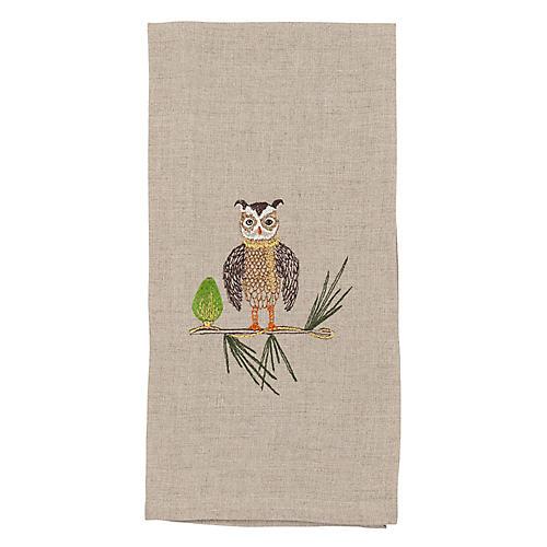 Owl Tree Trimmer Tea Towel