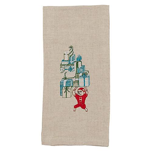 Elf Bulldog Santa's Tea Towel
