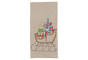 Santa's Sleigh Tea Towel*