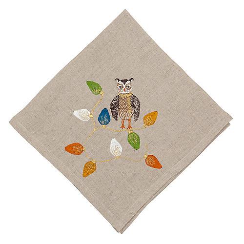 Owl Tree Trimmer Dinner Napkin