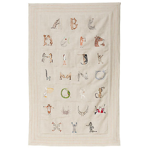 Alphabet Linen Quilt