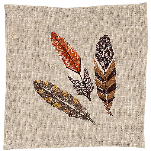 Brown Feather Cocktail Napkin