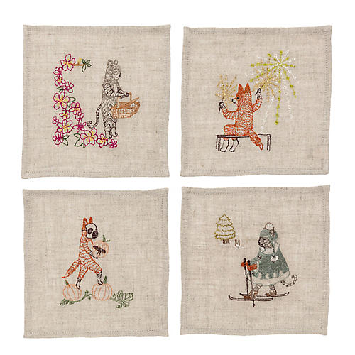 S/4 Seasonal Cocktail Napkins