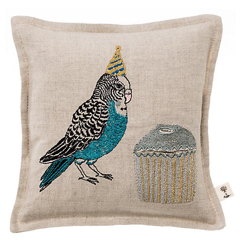 Birthday Parakeet 7x7 Pillow, Linen
