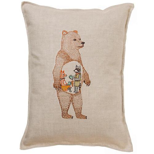 Hungry Bear 12x16 Pillow, Natural Linen