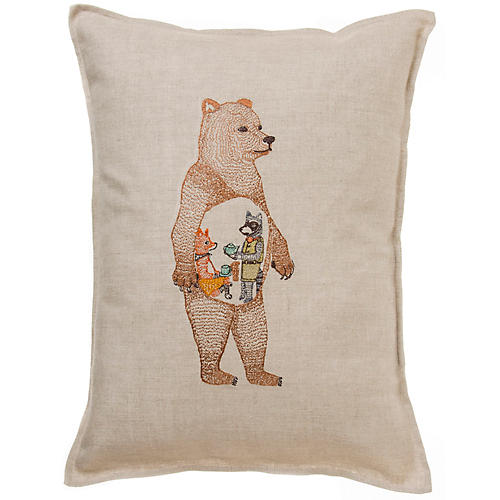 Hungry Bear 12x16 Pillow, Natural Linen