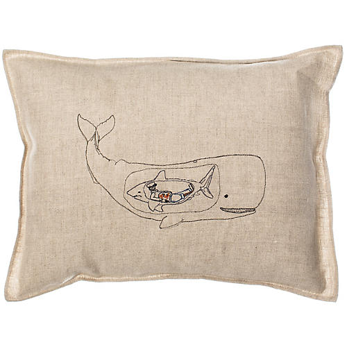 Very Hungry Whale 12x16 Pillow, Natural Linen
