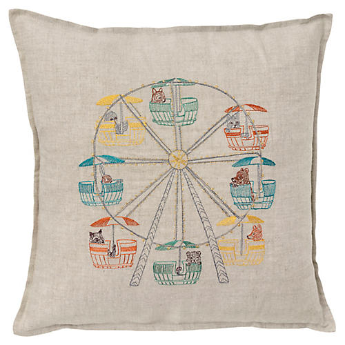 Ferris Wheel 16x16 Pillow, Linen