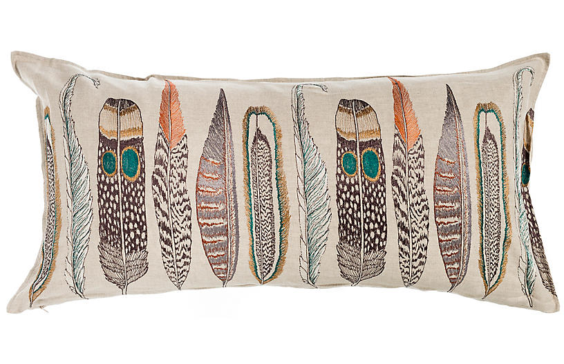 Large Feathers 16x32 Pillow, Natural Linen