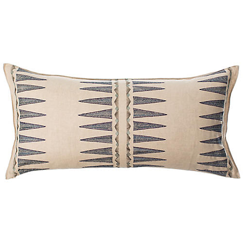 Navy Quill 16x32 Pillow, Natural Linen