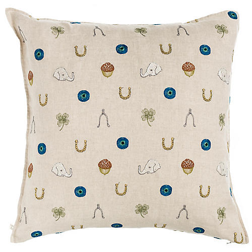 Good Luck 20x20 Pillow, Natural Linen