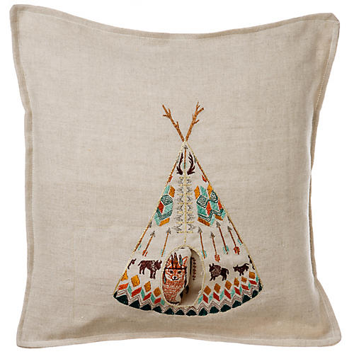 Fox Tipi 12x12 Pocket Pillow, Natural/Multi Linen
