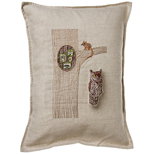 Owl in Tree 12x16 Pocket Pillow, Linen