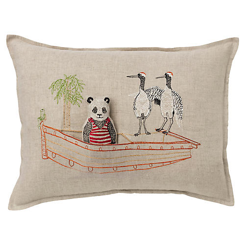Panda Boat 12x16 Pocket Pillow, Natural Linen