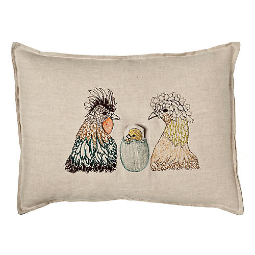 Chick 12x16 Pocket Pillow, Natural Linen
