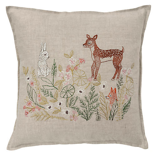 Meadow Friends 16x16 Pillow, Natural Linen