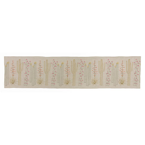 Cacti Table Runner, Natural/Multi