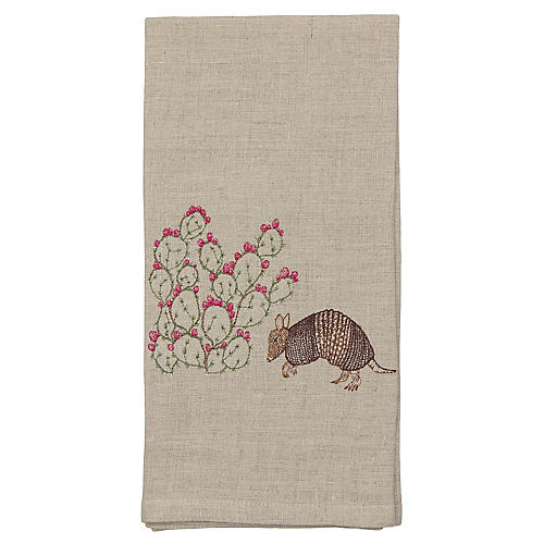 Armadillo & Prickly Pear Tea Towel, Natural/Multi