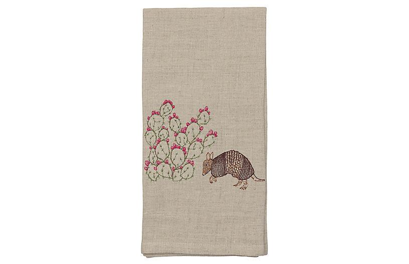 Armadillo & Prickly Pear Tea Towel, Natural/Multi