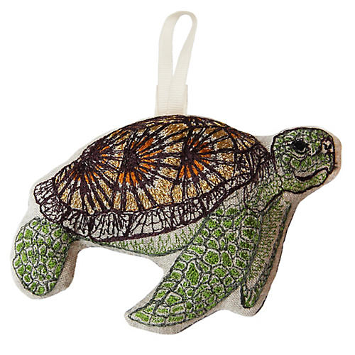 "5"" Sea Turtle Ornament, Green/Multi"