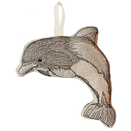 "5"" Dolphin Ornament, Gray/Natural"