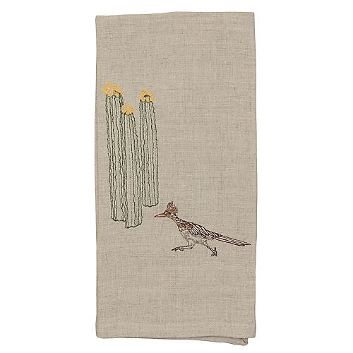 Roadrunner & Cacti Tea Towel, Natural