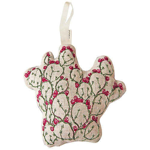 "4"" Prickly Pear Ornament, Pink/Green"