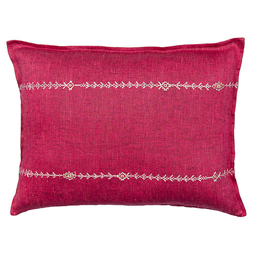 Stitch Stripe 12x16 Pillow, Fuchsia/Multi Linen