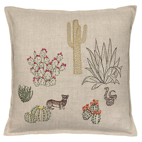 Saguaro 16x16 Pillow, Natural Linen