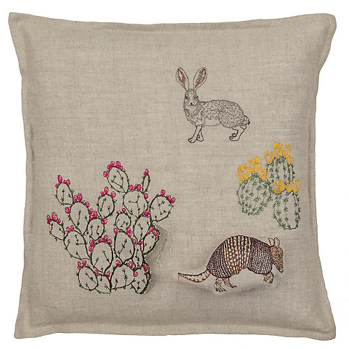 Armadillo & Saguaro 12x12 Pillow, Natural Linen