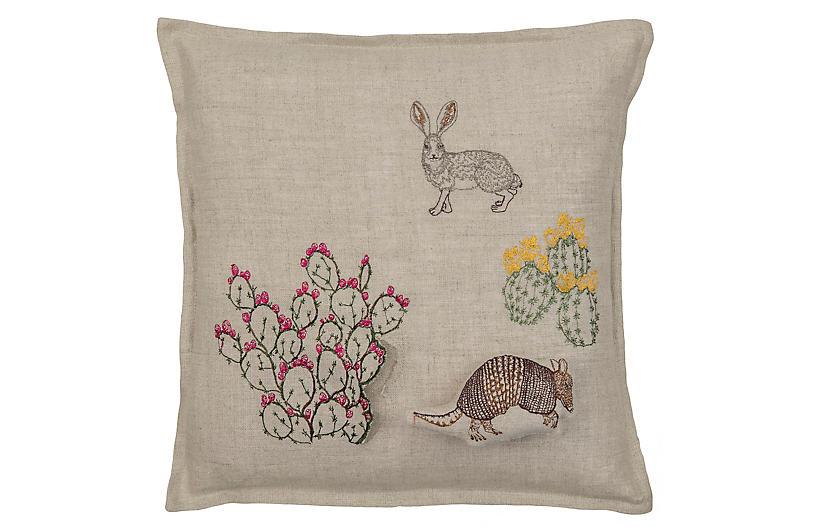 Armadillo & Saguaro 12x12 Pillow, Natural Linen