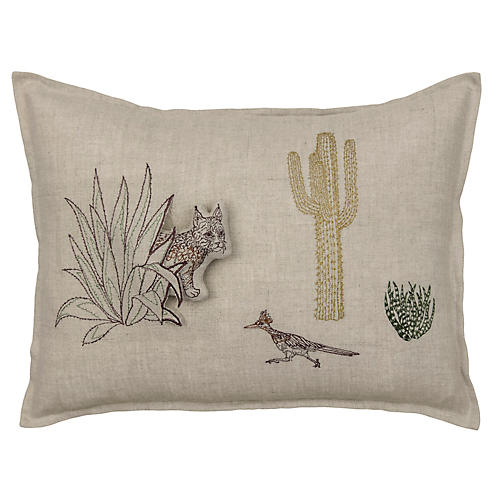 Bobcat & Saguaro 12x16 Pillow, Natural Linen