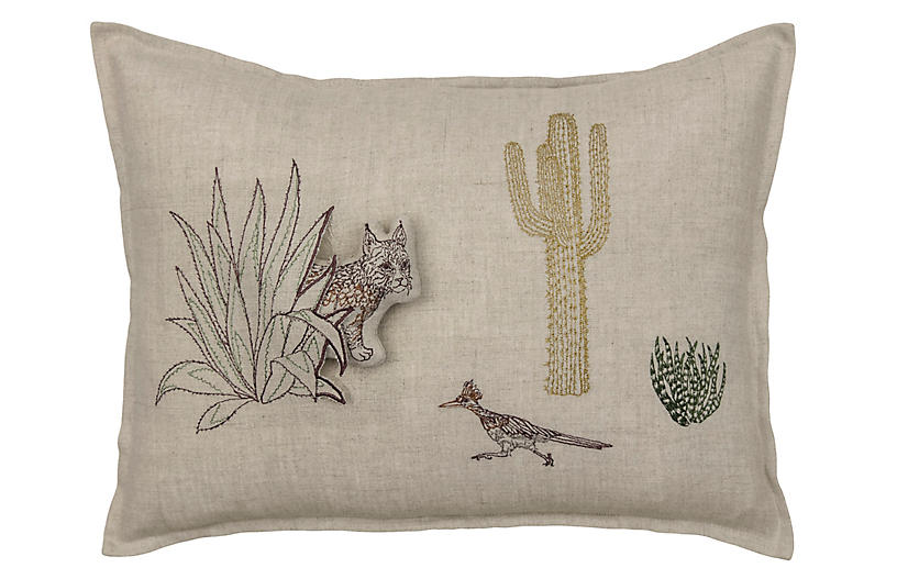 Bobcat Saguaro 12x16 Pillow Natural Linen