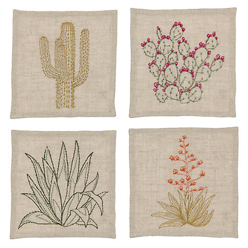 Asst. of 4 Cacti Cocktail Napkins, Natural/Multi