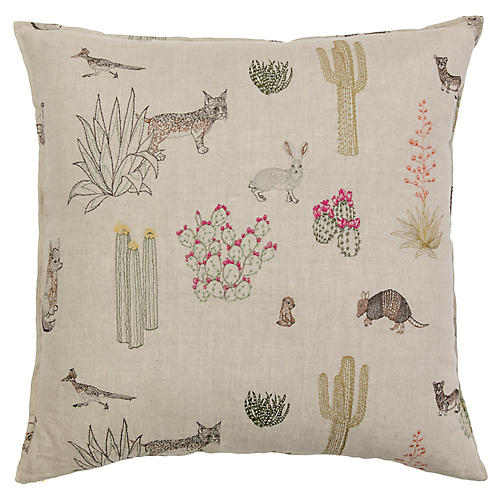 Saguaro Desert Friends 20x20 Pillow, Natural Linen