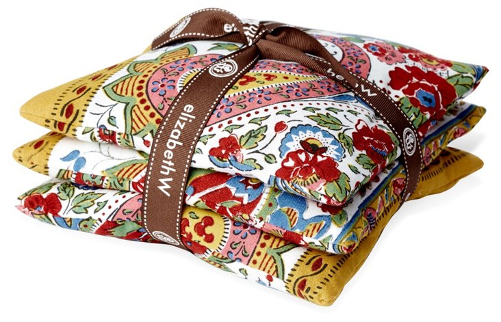 S/3 Paisley Sachets, Yellow/Multi