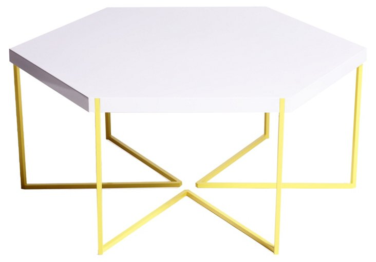 "Hex 42"" Coffee Table, White/Yellow"