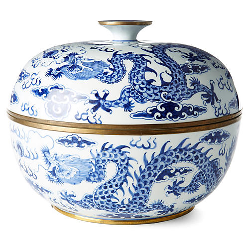 "12"" Dragon Bowl, Blue/White"