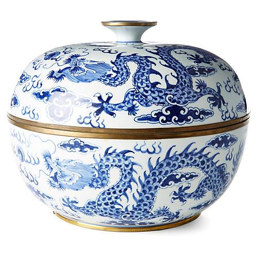 """12"""" Dragon Bowl, Blue/White"""