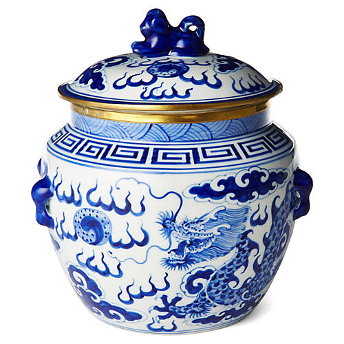 "7"" Dragon Bowl w/ Foo Dog, Blue/White"
